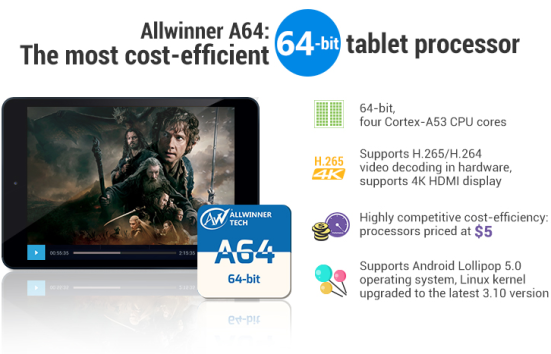 Allwinners $5 A64 SoC for the entry-level 64-bit tablets -- 8-Jan-2015