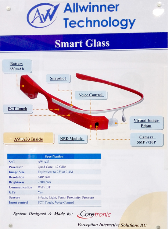 Allwinner Smart Glass prototype at the Hong Kong Fair -- 11-14-April-2015